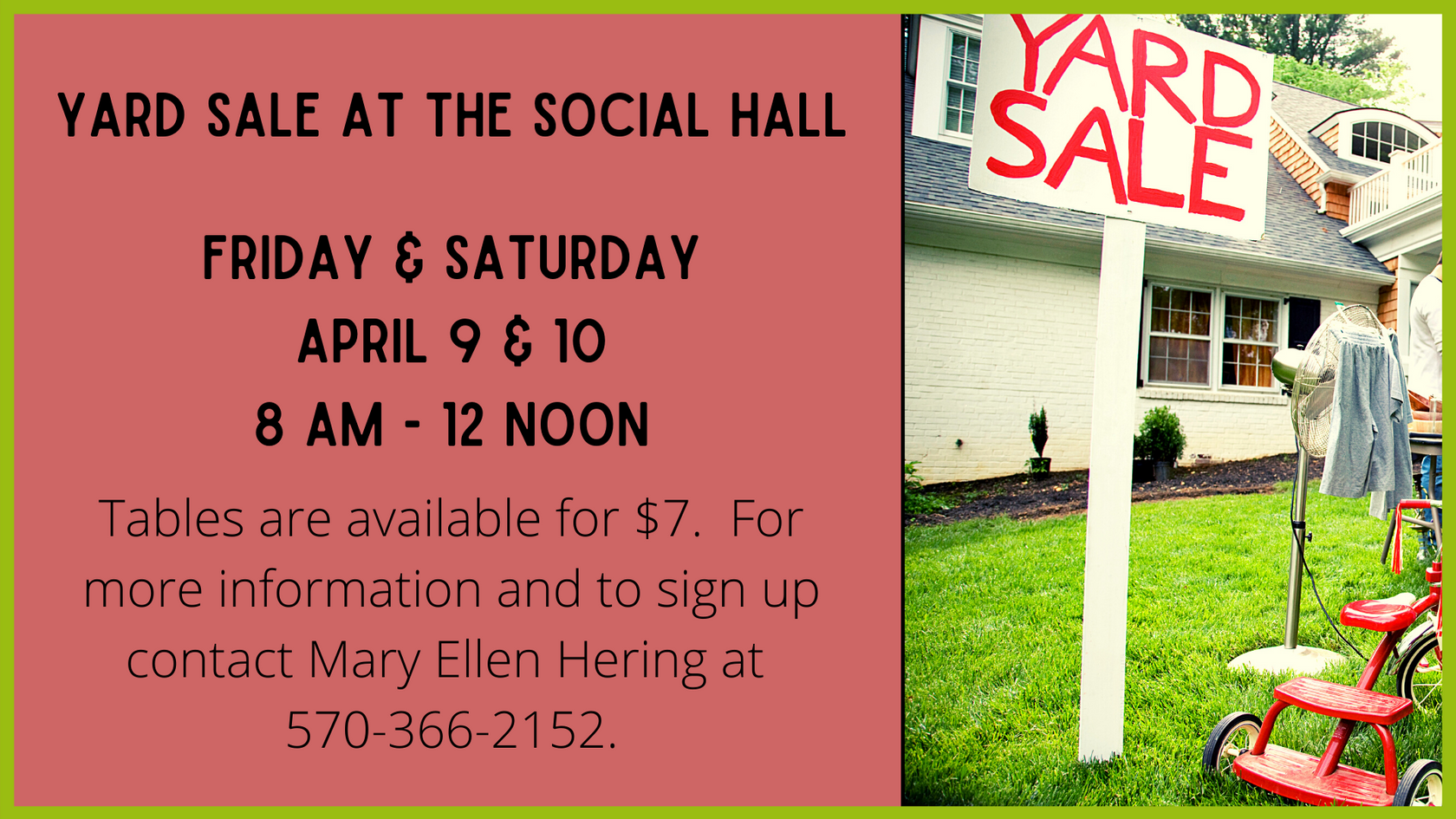 Yard Sale at the Social Hall