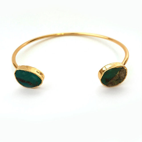 Gold and Turquoise Two Stone Bracelet