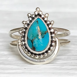turquoise crescent moon ring