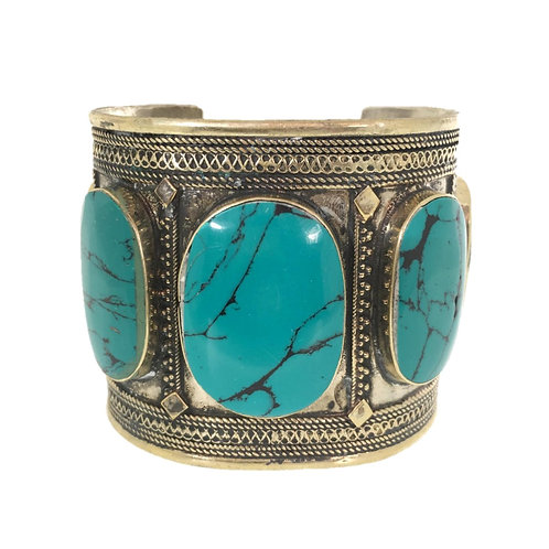 Tibetan Silver and Turquoise Cuff