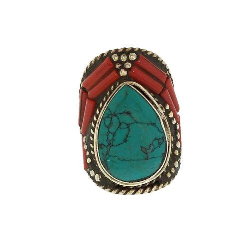 Coral Tear Drop Tibetan Ring