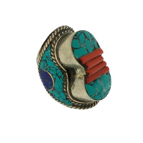 Curved Mosaic Tibetan Ring