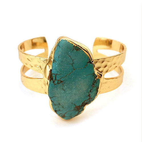 Gold and Turquoise Cuff