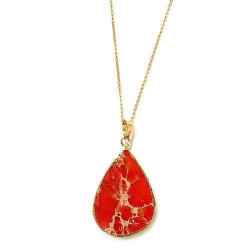Red Jasper Tear Drop Necklace