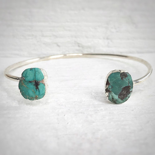 Silver and Turquoise Two Stone Bracelet