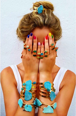 Turquoise Jewellry, turquoise ring, turquoise bracelet, turquoise cuff, girl, girl covering face