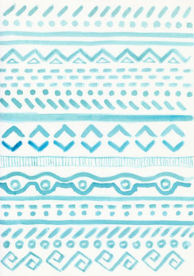 Tribal ornate pattern. watercolor backgr