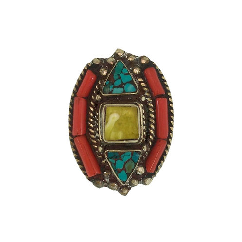 Yellow Stone Mosaic Tibetan Ring
