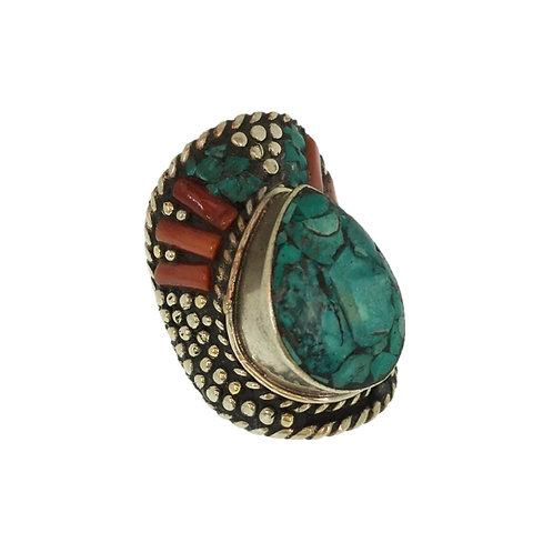Turquoise Tear Drop Tibetan Ring