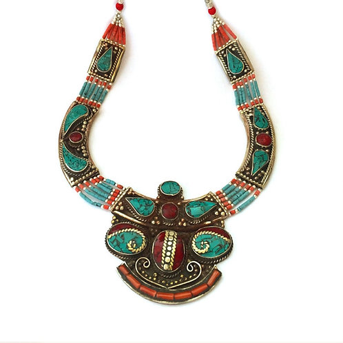 Nepalese Coral and Turquoise Necklace