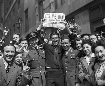 WW2 Crowd Celebrating Victory Day in Tim
