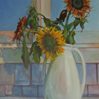 """Sunflower Still Life at Outside Window"""