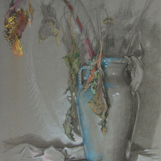"""Dried Sunflowers in Blue Vase"""