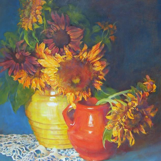 """Orange and Blue Sunflower Still Life"""