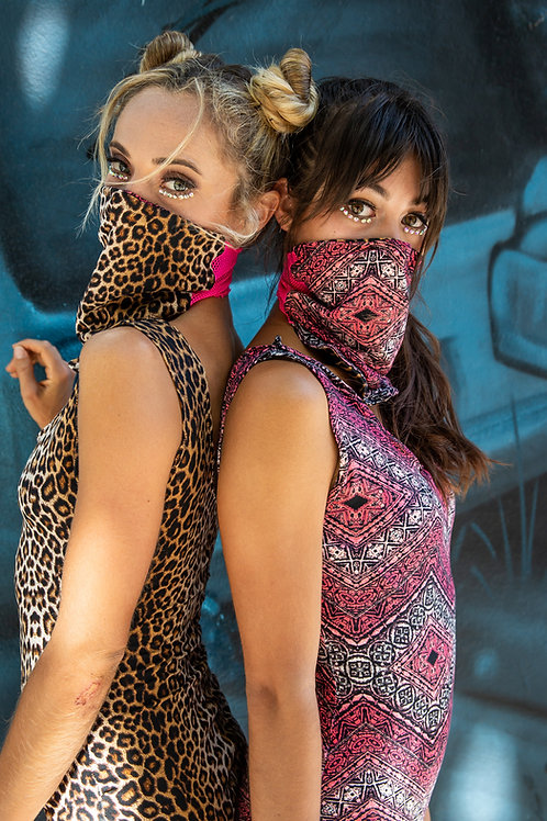 Pink Safari Reversible Fitted Face Mask
