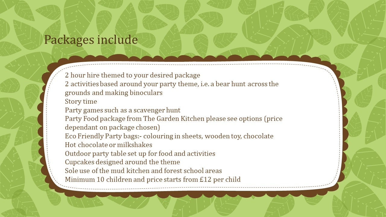 packages for a per teen patry