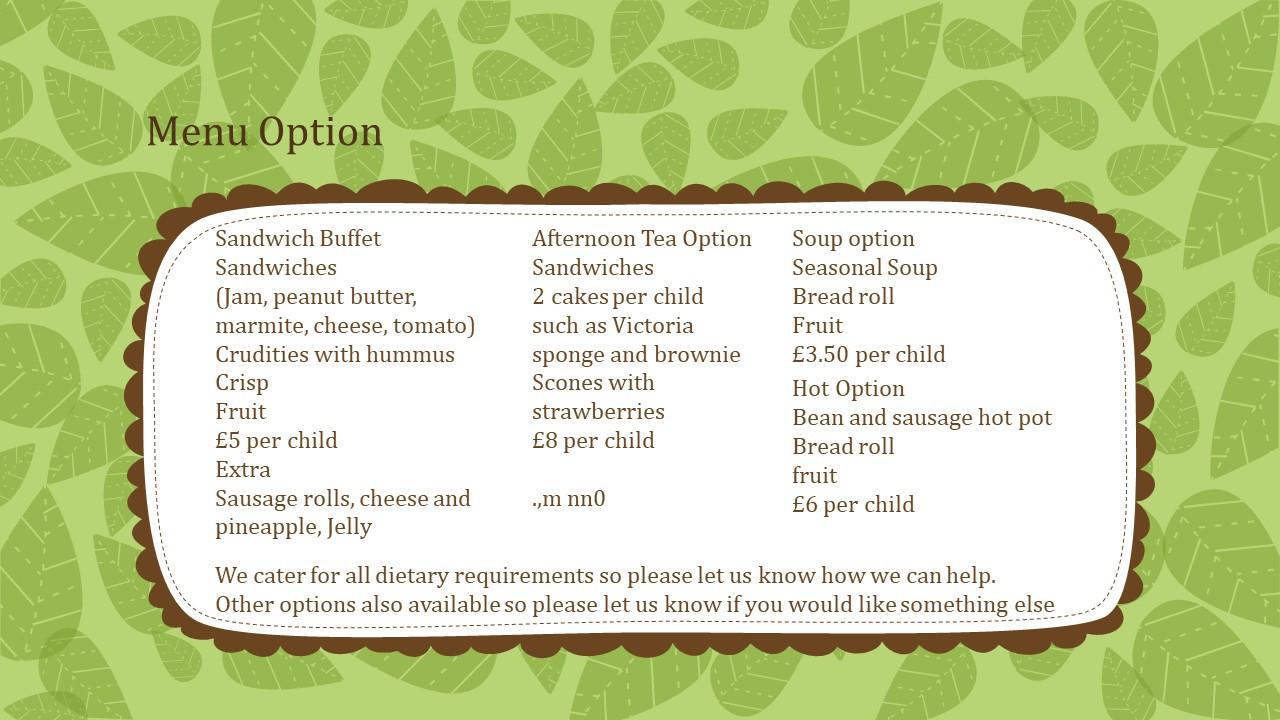 menus from The Garden Kitchen