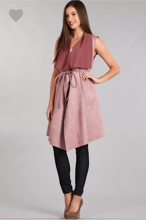 The Mauve Two Tone Suede Coat