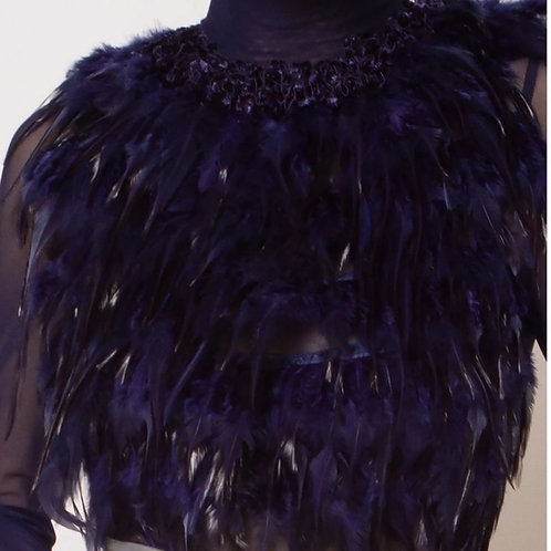 Electric Blue Sheer Feather Top