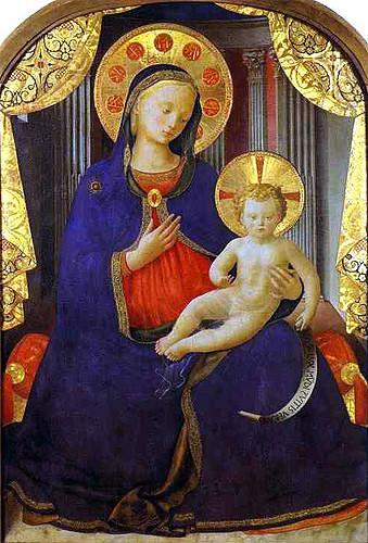 Peinture d'une vierge portant l'enfant datant d'environ 1445