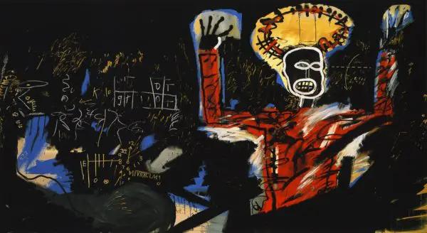 Reproduction d'une peinture de Basquiat sur la mort