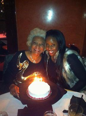 Nichelle Nichols and Angelique Fawcette on her 82nd Birthday