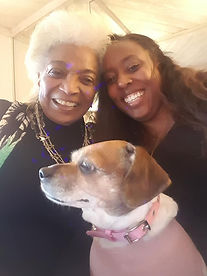 Nichelle Nichols, Angelique Fawcette and doggo Lola