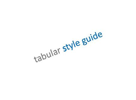 Tabular Style Guide