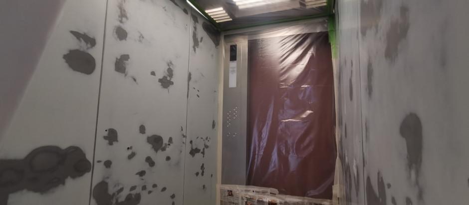 Покраска лифтовой кабины Sigma с демонтажем дверных створок