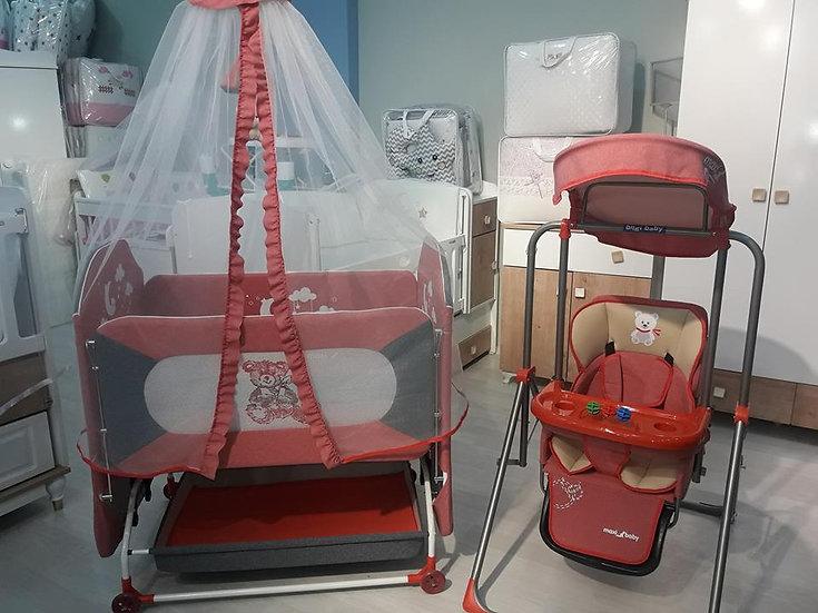Anne yanı beşik ve mama sandalyeli salıncak