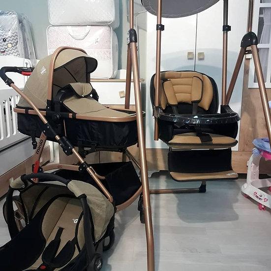 Travel sistem bebek arabası ve mama sandelyeli salıncak