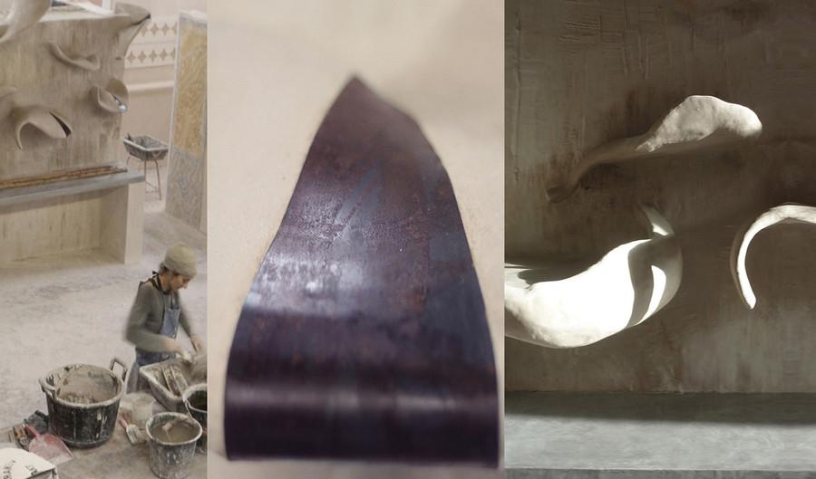 """""""évocation"""" - sculpture monumentale plâtre-terre"""
