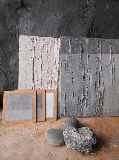 Echantillons LaCaro - enduits écologiques  - design mural - sculpture - terre, plâtre, chaux