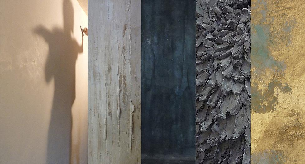 Diffétentes textures et matières proposées par LaCaro - 1.stuc chaux 2.plâtre mouvementé 3.enduit vénitien 4.sculpture plâtre 5.composition badigeon doré