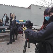 Els alumnes gravant el videoclip