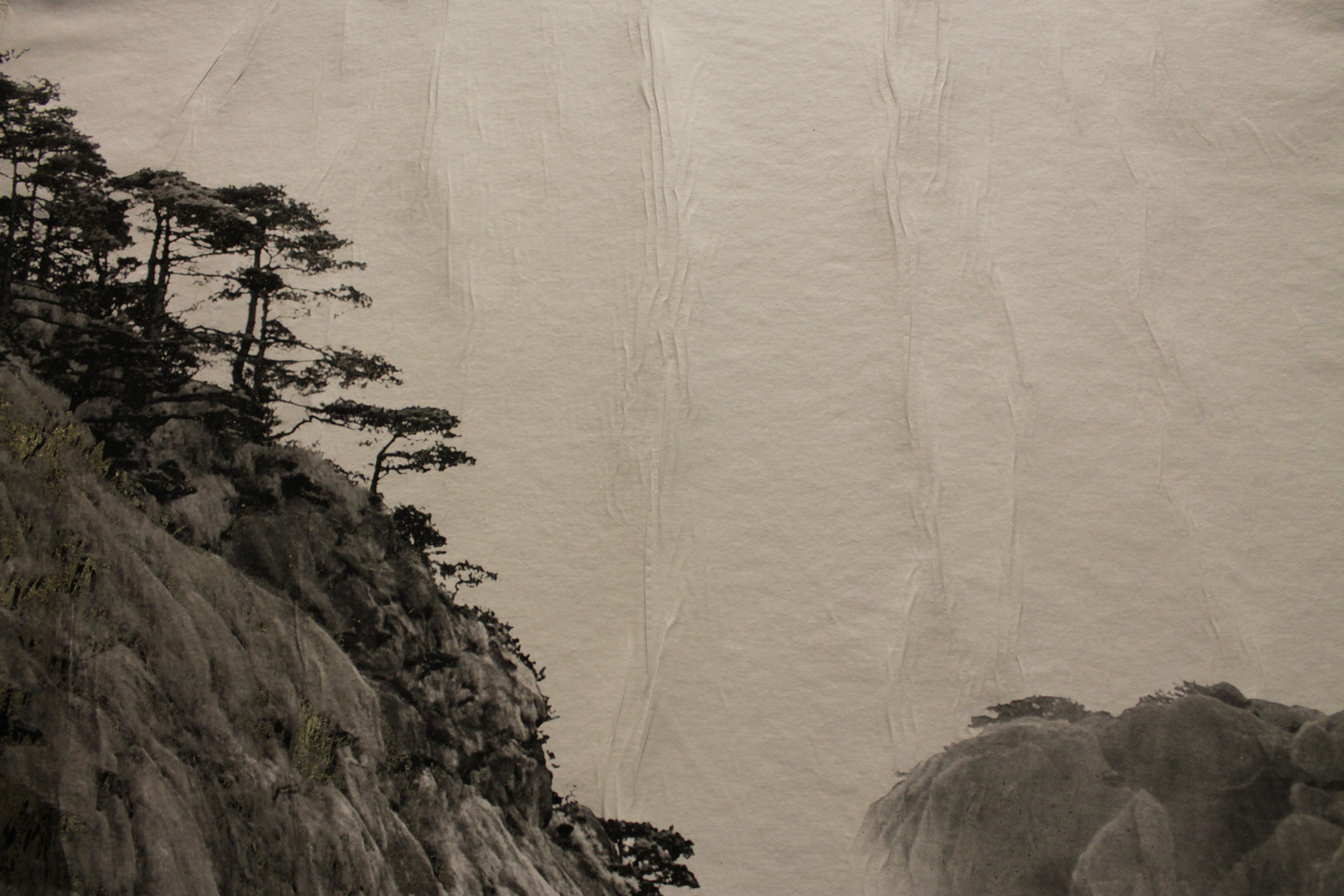 "Bill Claps' print of Huangshan Gorge, mixed media with gold foil on canvas, 18"" x 44"", 2018"