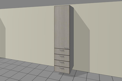 4 External Drawers (500 mm Wide) 1 Door Left + Shelves x 2300 MM High
