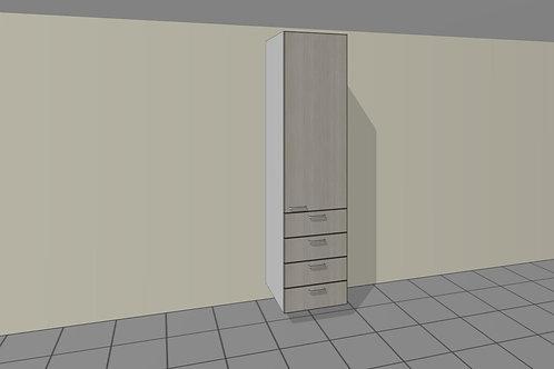 4 External Drawers (600 mm Wide) 1 Door Right + Shelves x 2300 MM High