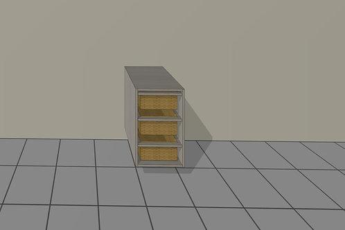 Veggie Basket (400 mm Wide) Base Unit 3 x Wicker x 720 MM High