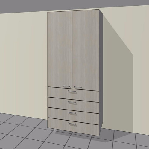 4 External Drawers (1100 mm Wide) 2 Door + Shelves x 2300 MM High