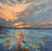 'Sky ablaze' oil on canvas, 54x54cms fra