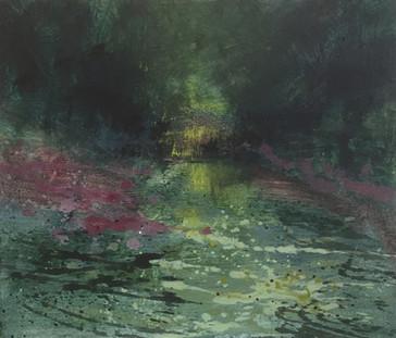 'Darting kingfishers' oil on panel £180