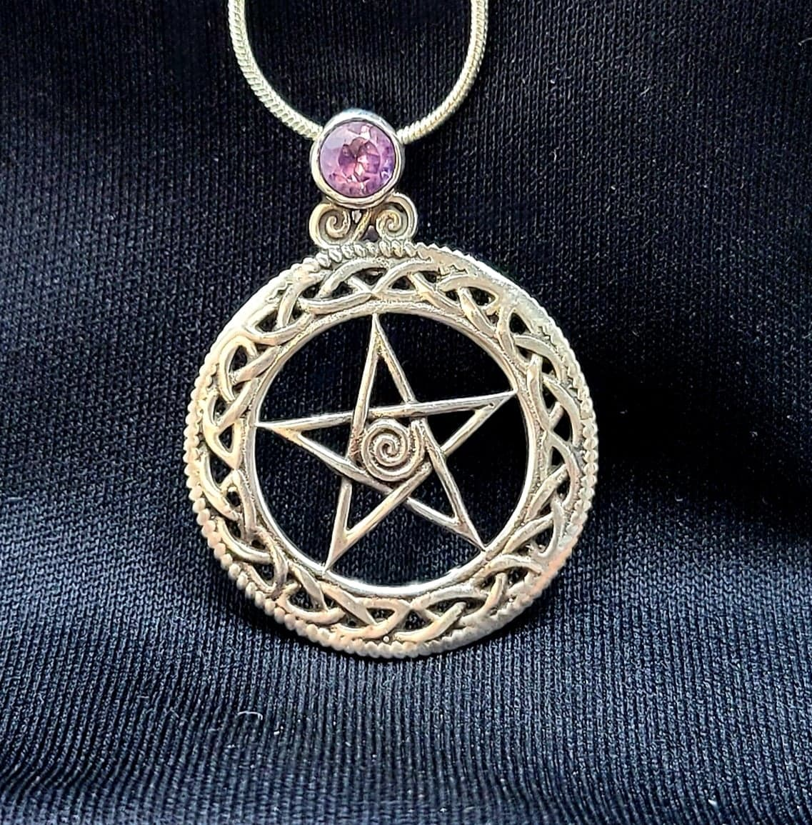 Sterling Silver Pentagram with Amethyst necklace