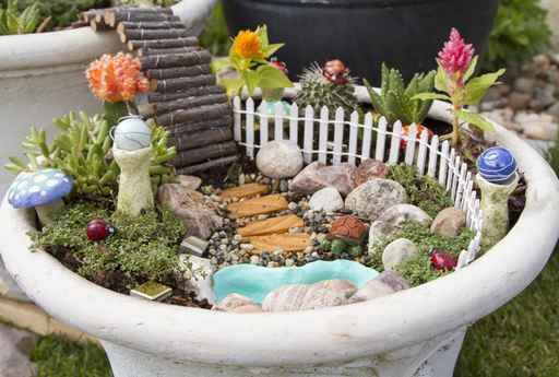 Fairy Gardens from Old Pots