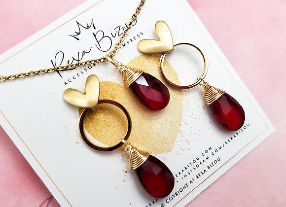 Red in Love Earring Set