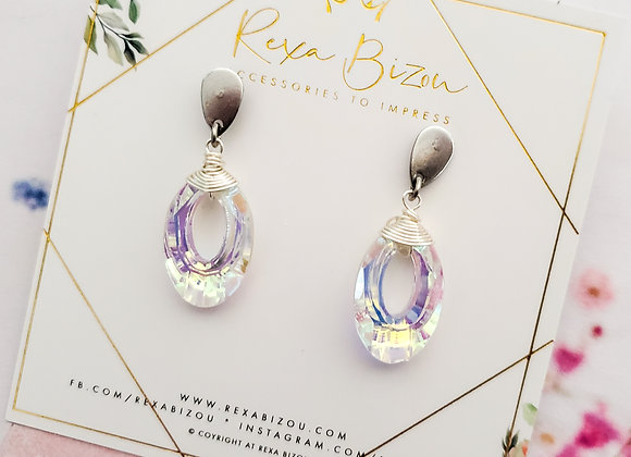Silver Short AB Ring Earring
