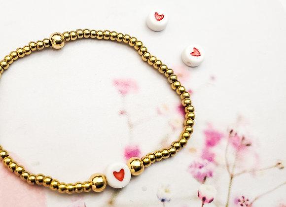 Red Heart Beaded Bracelet