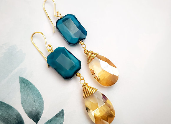 Blue Champagne Crystal Earring