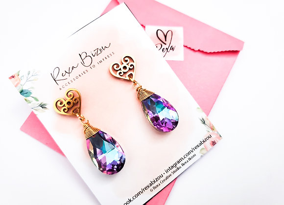 Heart Stud Pink Toned Crystal Earring
