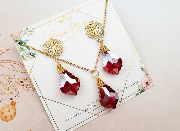 Red Leaf Crystal Set